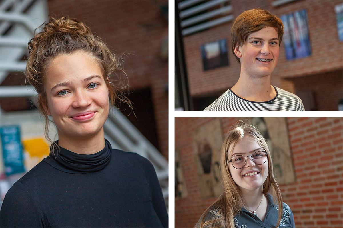 Tre college-elever